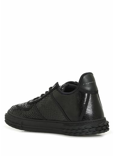 Giuseppe Zanotti Giuseppe Zanotti  Parlak Dokulu Logolu Erkek Deri Sneaker 101602085 Siyah